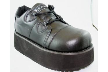 Chunky Platform Black Leather