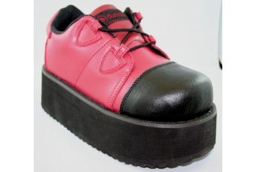 Chunky Platform Red/Black Leather